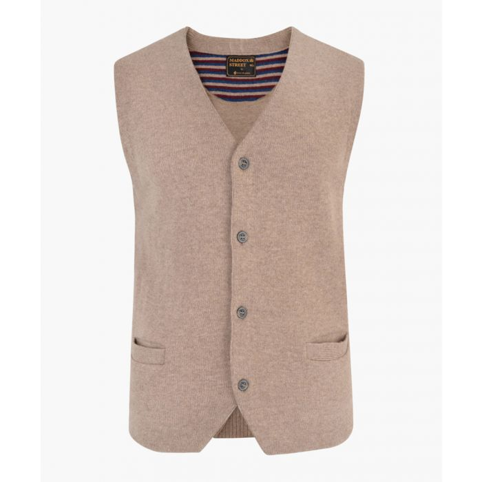 Image for Caramel lambswool blend knitted waistcoat