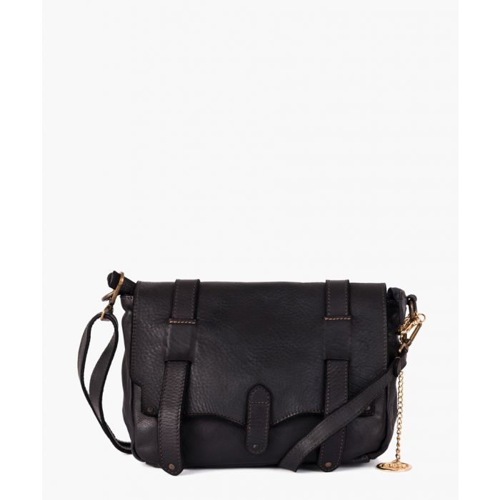Image for Anassagora black leather satchel