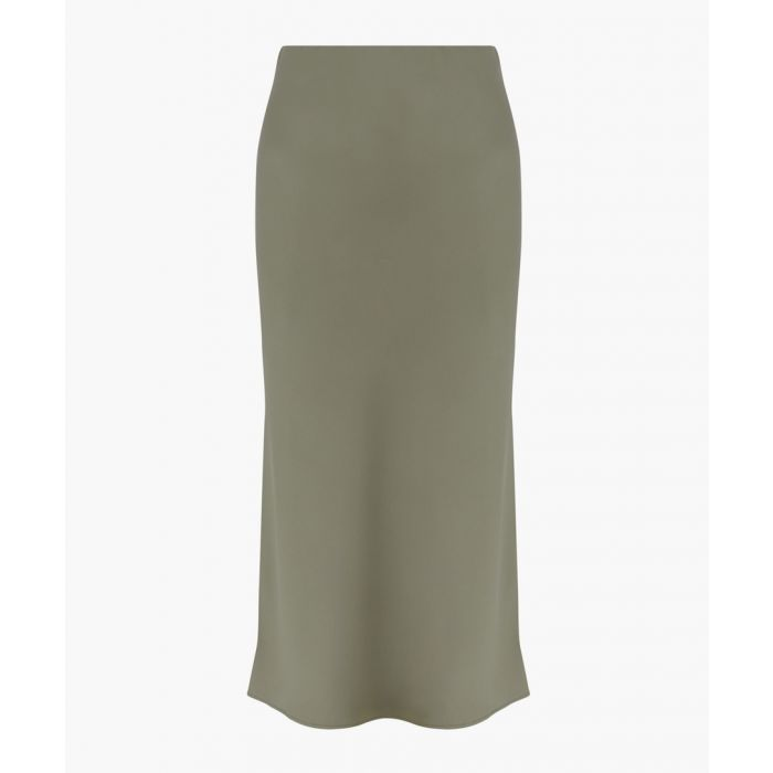 Image for Khaki bias-cut satin skirt