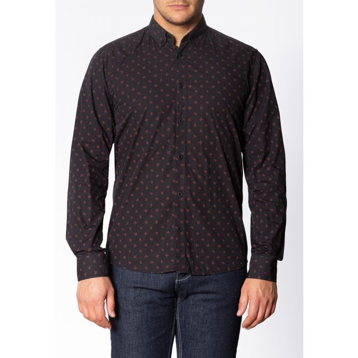 Image for Worple Mens Long Sleeve Cotton Shirt with Geo Print in Black