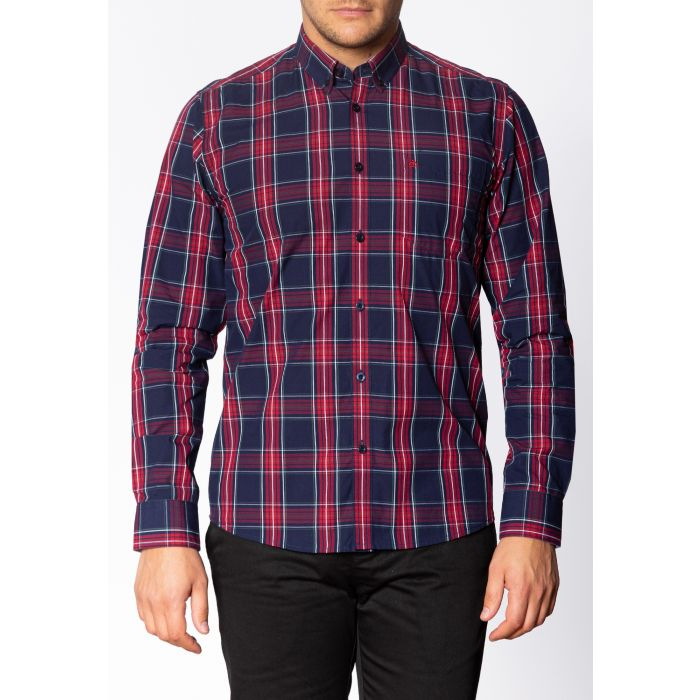 Image for Harcourt Mens Long Sleeve Cotton Shirt With Large Check Pattern In Navy