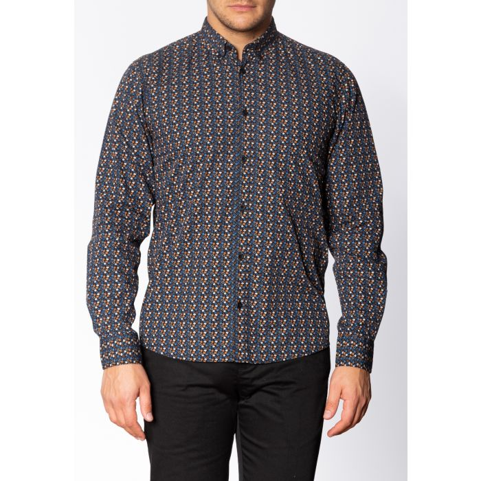 Image for Mildford Mens Long Sleeve Cotton Shirt with Floral Print in Black