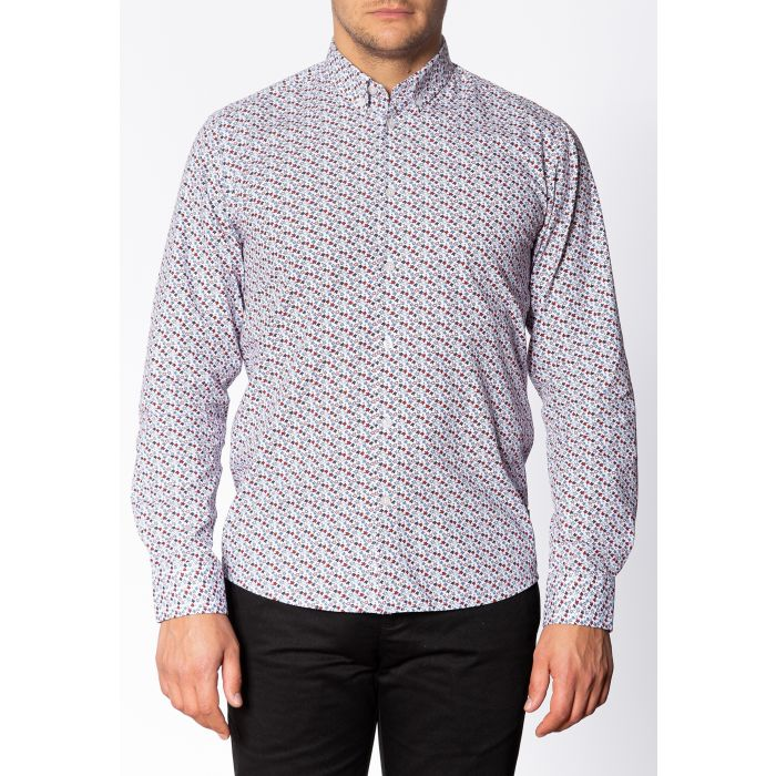 Image for Mildford Mens Long Sleeve Cotton Shirt with Floral Print in White