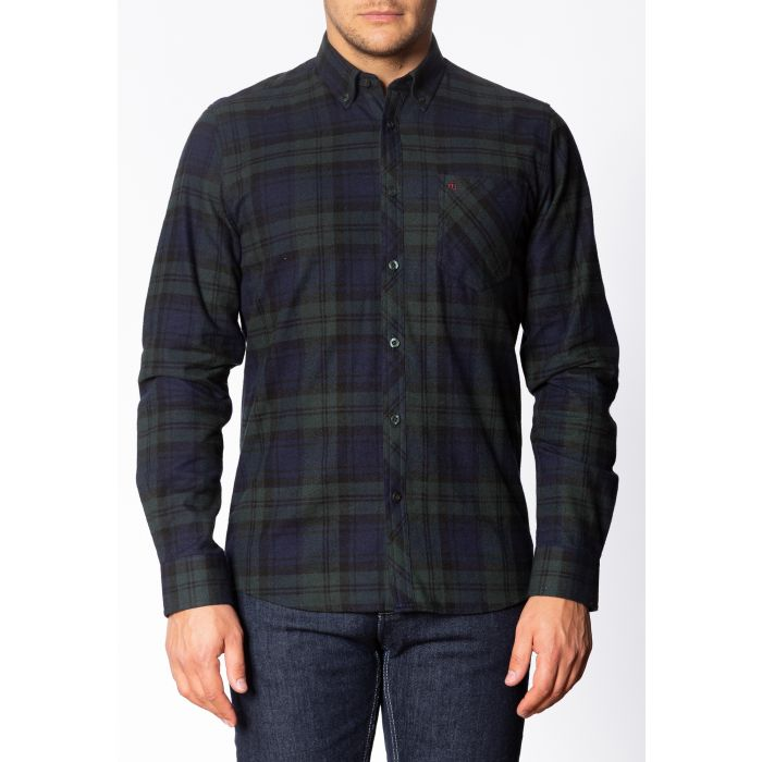 Image for CYPRUS, Men's Long Sleeve Flannel Shirt with Large Check Pattern in Bottle Green