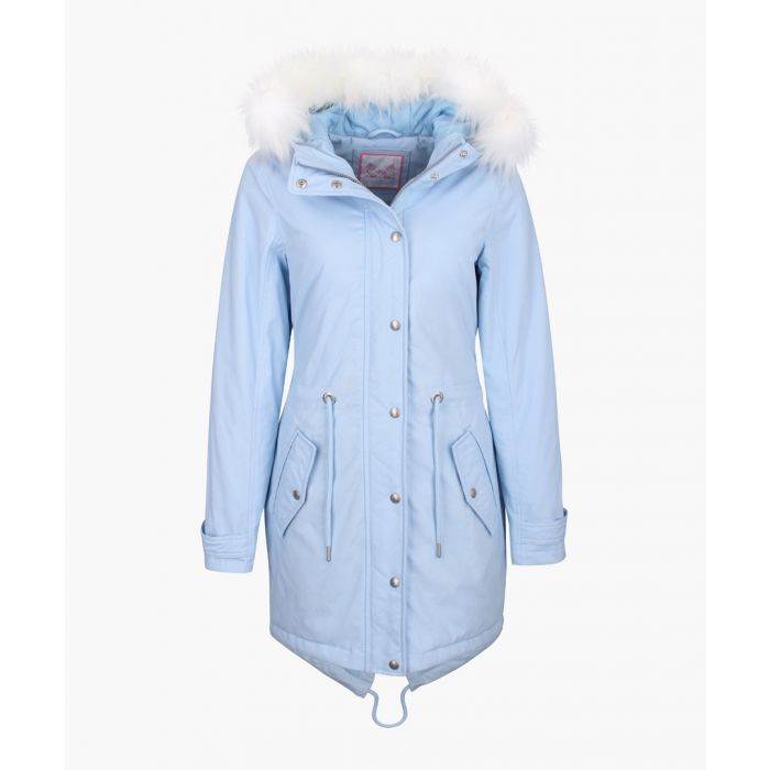Image for Sky blue hooded print parka