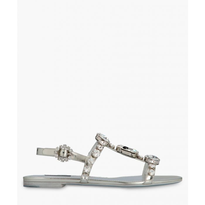 Image for Bianca silver-tone leather bejewelled sandals