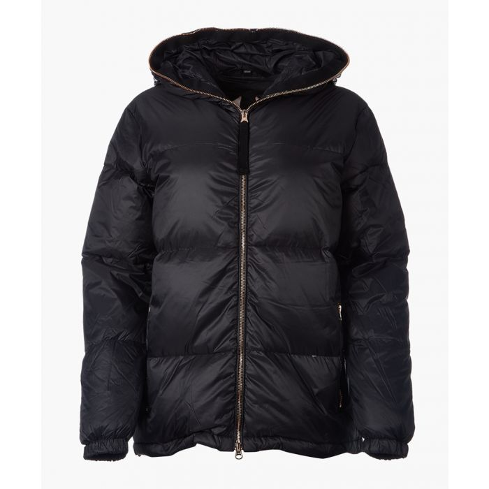 Image for Black quilted zip-up jacket