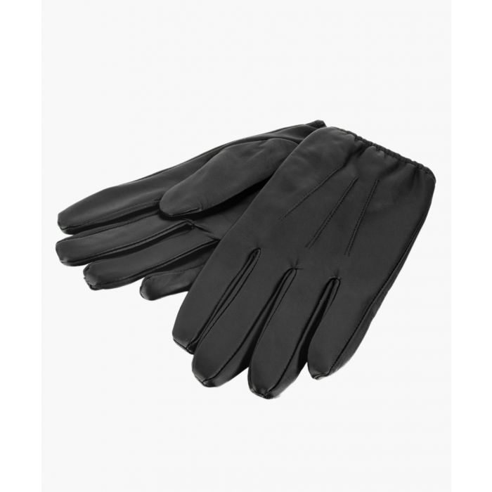 Image for Black Stitch Detail Leather Gloves
