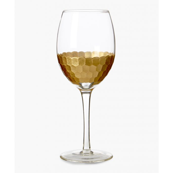Image for 4pc Astrid gold-tone honeycomb small wine glasses