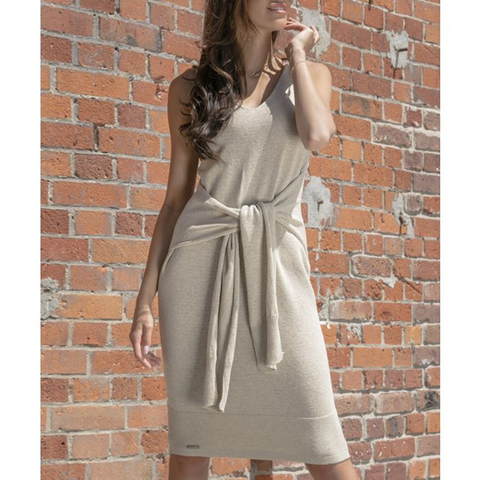 Image for Beige knitted cotton blend dress