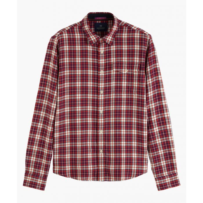 Image for Multi-coloured stretch-cotton check shirt