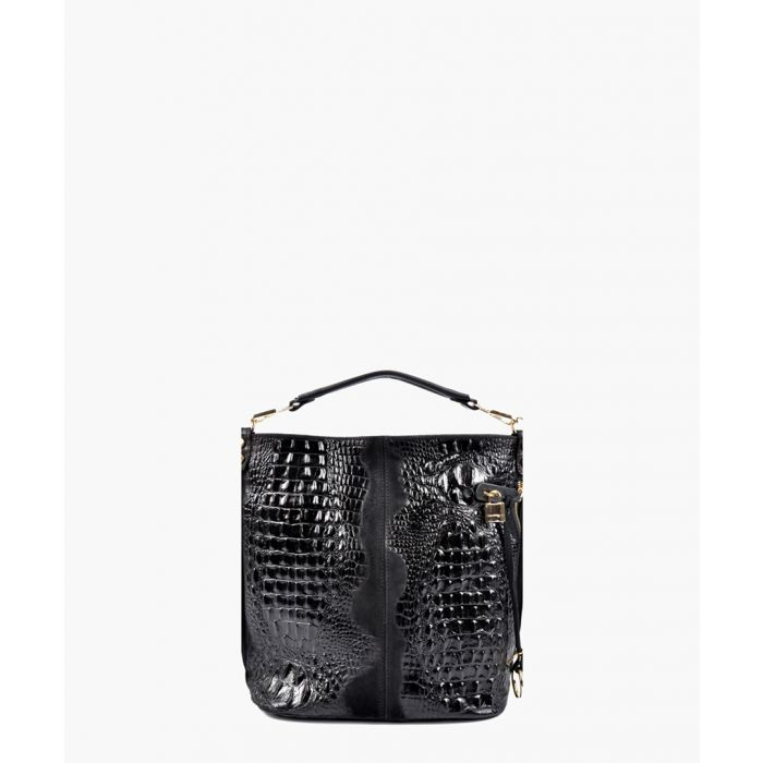 Image for Black leather top handle bag