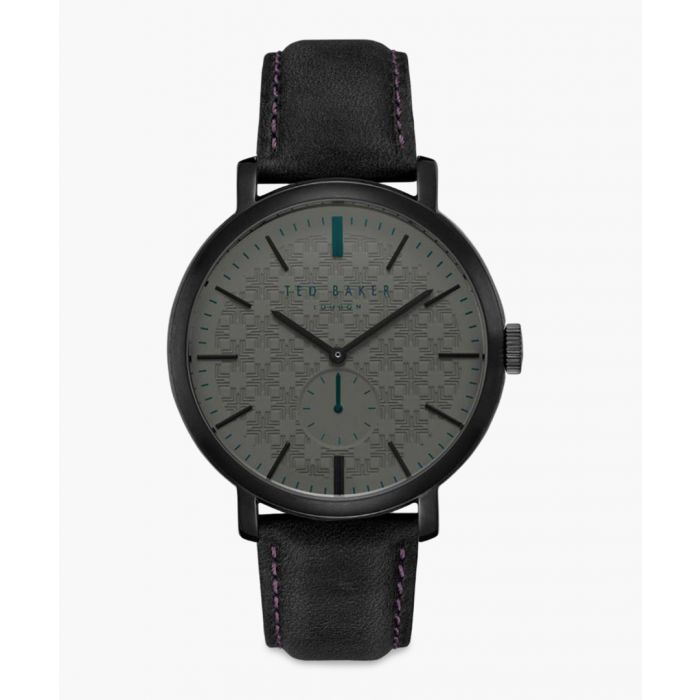 Image for Trent black leather and stainless steel watch