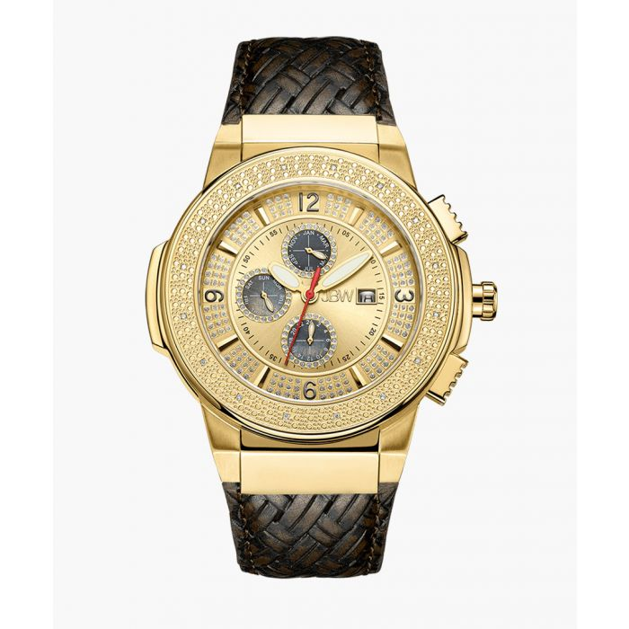 Image for Saxon stainless steel and brown leather watch