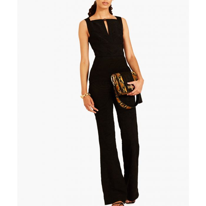 Image for Black silk blend jumpsuit