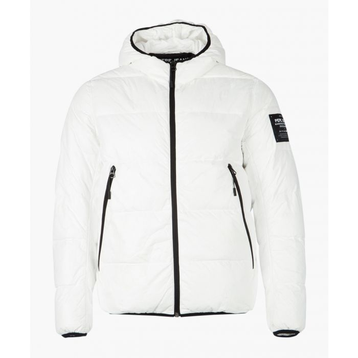 Image for White quilted hooded zip-up jacket