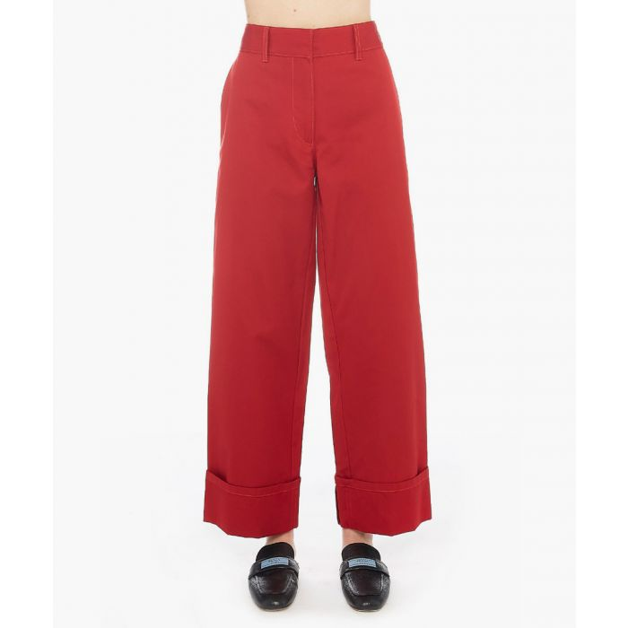Image for Red wide-leg trousers