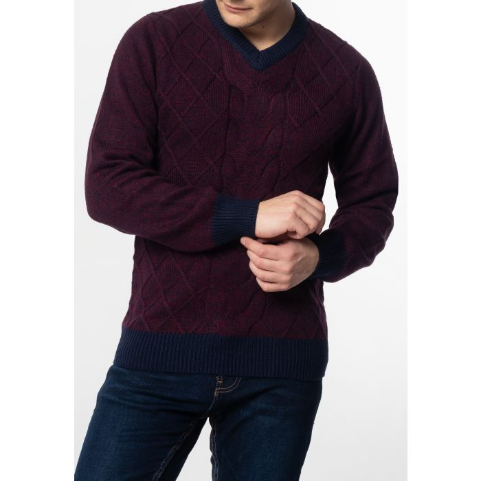 Image for HATCLIFFE, Cable v-neck jumper with ribbed hem and cuffs in Burgundy Marl