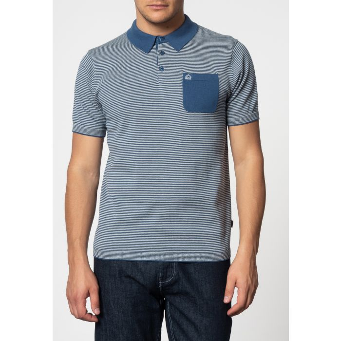 Image for Pascal Vertical Stripes Knit Polo With Chest Pocket In Bright Blue
