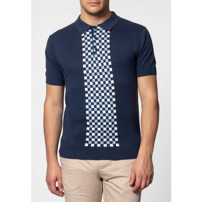 Image for Jarvis Short Sleeve Knit Polo With Check Panel In Navy