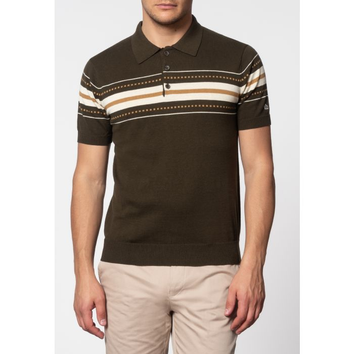 Image for Tanner Chest Stripe Knit Polo In Dark Sage