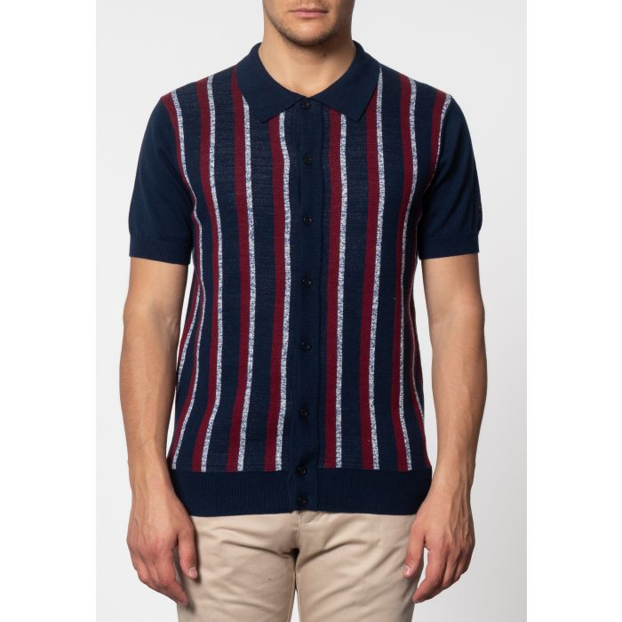 Image for Wilmot Vertical Stripes Knit Polo In Navy