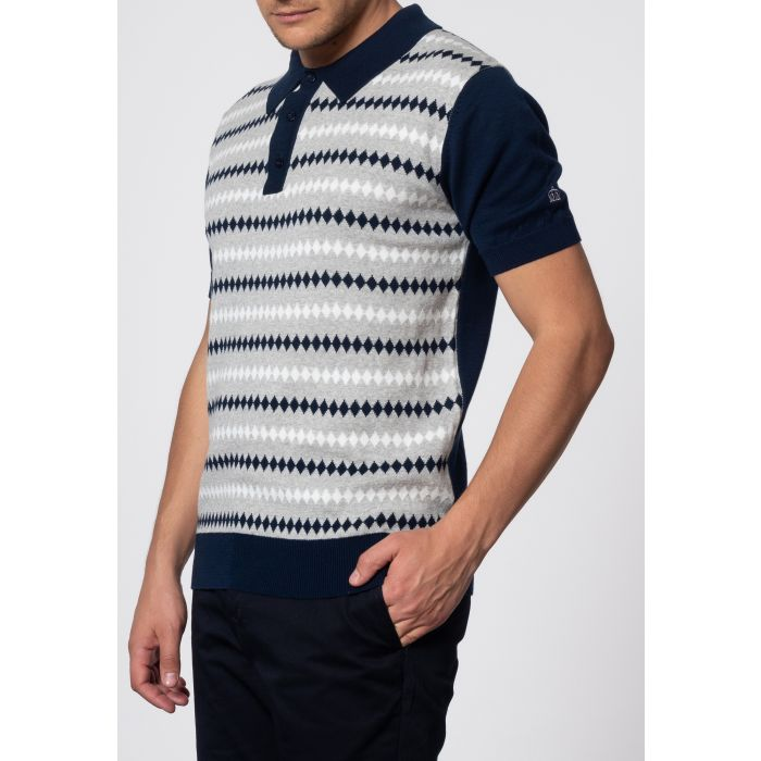 Image for Farley Diamond Jacquard Knit Polo In Navy