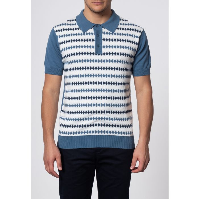 Image for Farley Diamond Jacquard Knit Polo In Vintage Blue