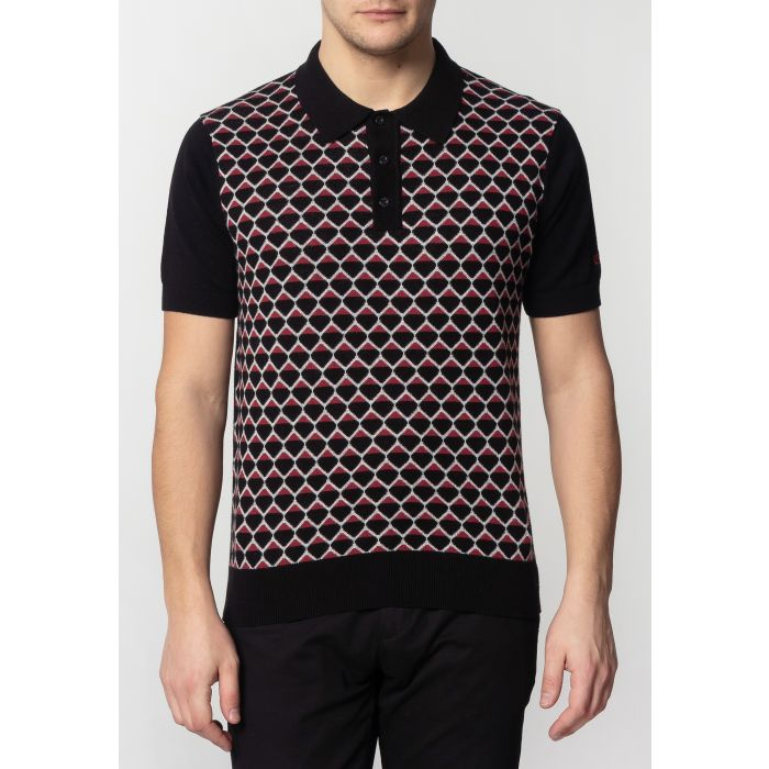 Image for Spitfire Mens Knitted Polo Shirt With Geo Pattern In Black