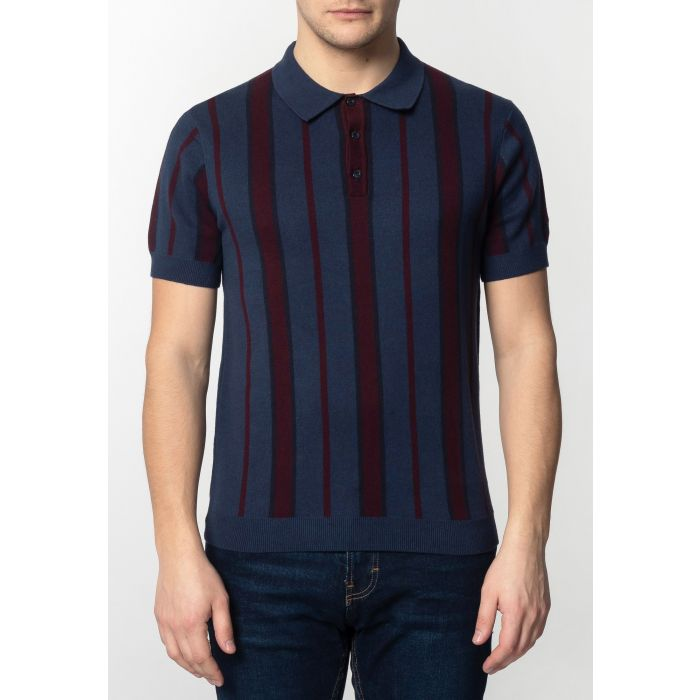 Image for Marmot Mens Knitted Polo Shirt With Vertical Stripes In Dark Blue