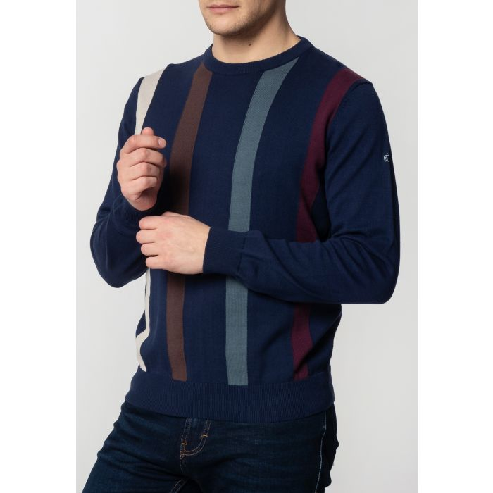 Image for Darren Mens Cotton Jumper With Vertical Stripes In Navy