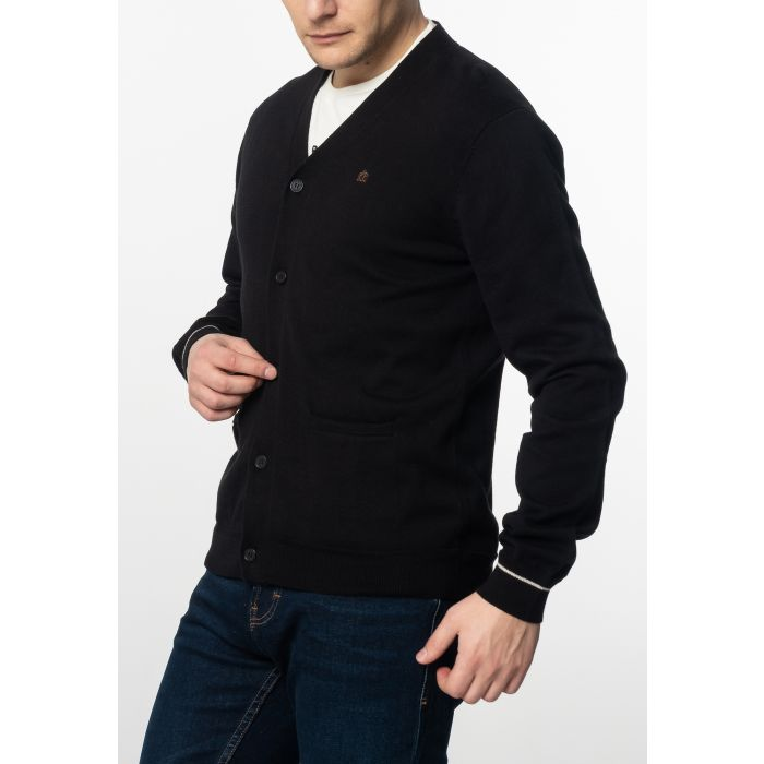 Image for Beckton Mens Fine Knitted Cotton Cardigan With Tipped Details In Black
