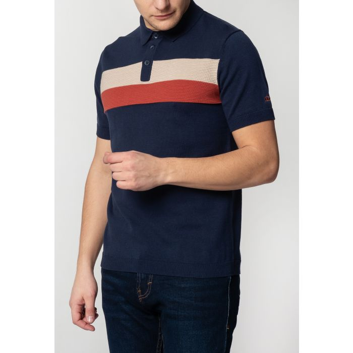 Image for Cadburry Mens Knitted Polo Shirt With Chest Horizontal Stripes In Dark Blue