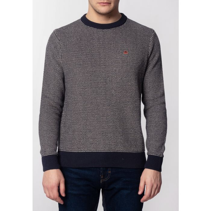 Image for Fellows Mens Chunky Cotton Jumper With Birdseye Pattern In Dark Slate