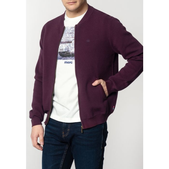 Image for Booth Mens Chunky Cotton Cardigan With Ripple Detailing In Mahogany