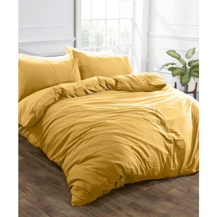 Image for Ochre washed linen-style single duvet set