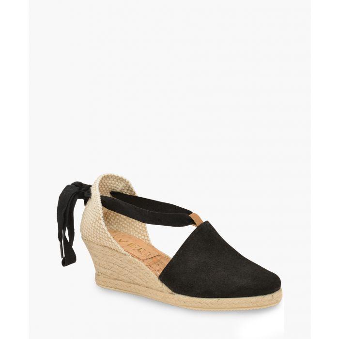 Image for Etna black leather wedge sandals