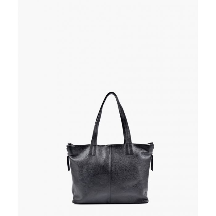 Image for Black leather top handle tote