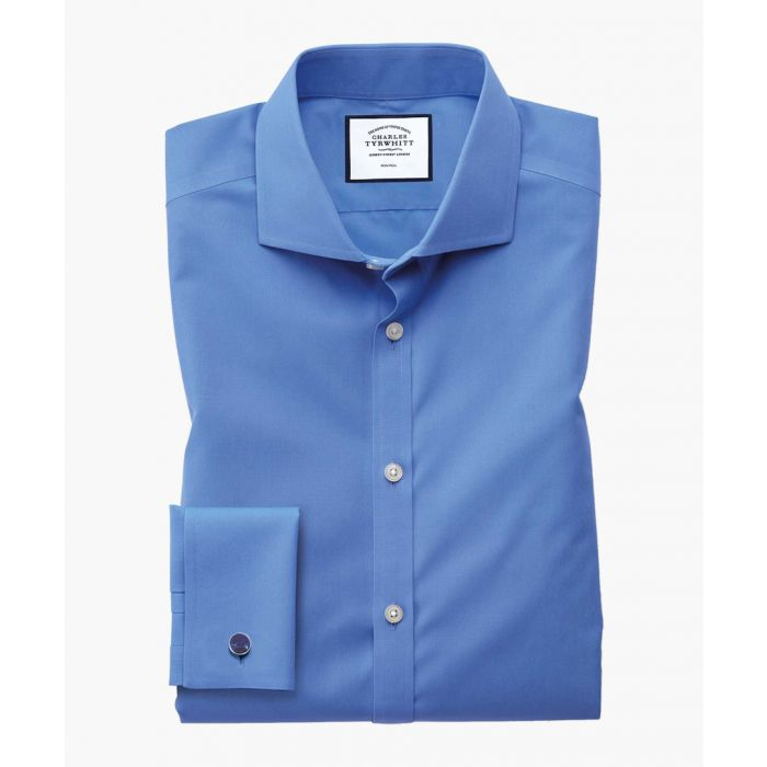 Image for Blue non-iron poplin extra slim fit shirt