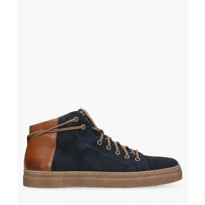 Image for Navy and tan suede trainers