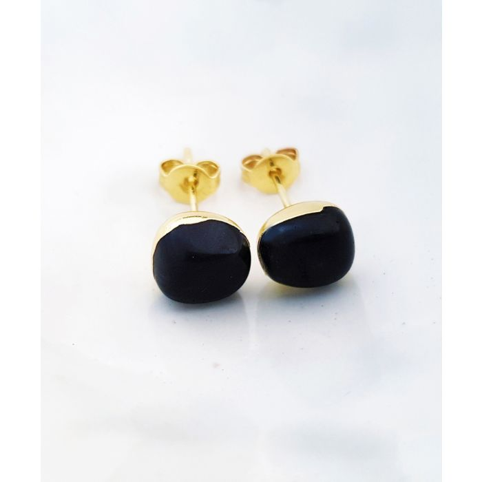 Image for 18k gold-plated and obsidian earrings