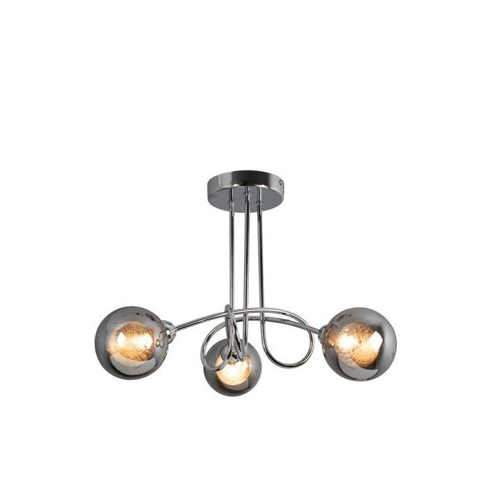 Image for Xena Polished Chrome and Smoked Glass 3 Light Semi Flush Ceiling Light