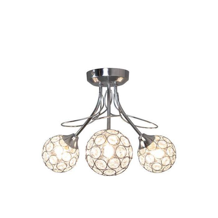 Image for Roza Polished Chrome and Acrylic 3 Light Semi Flush Ceiling Light