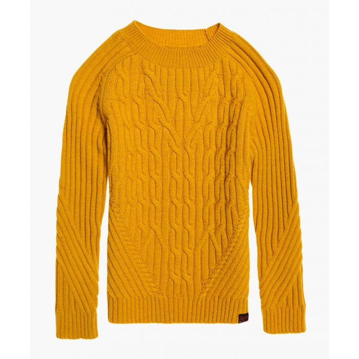 Image for Hester yellow cotton cable-knit jumper