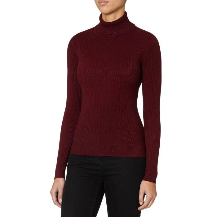 Image for Wine cashmere blend ribbed rollneck jumper