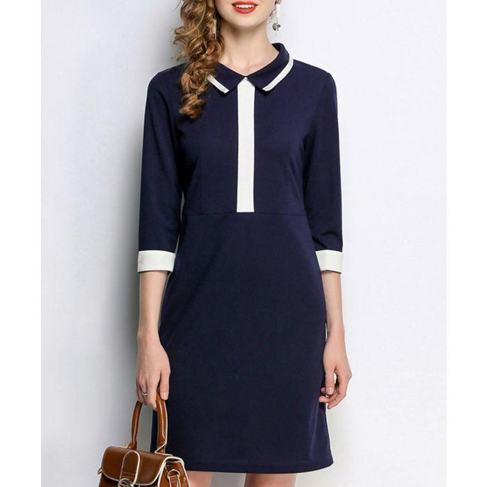 Image for Blue contrast detail 3/4 sleeve dress