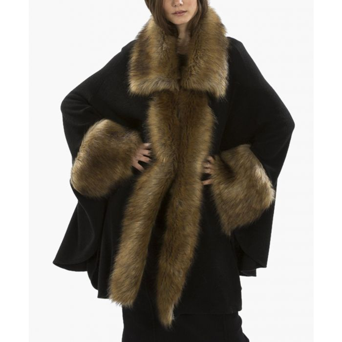 Image for Black & gold luxury faux fur fine knitted coat