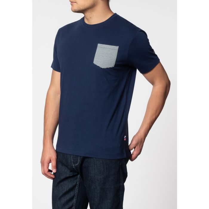 Image for EAGLE, short sleeve T-shirt with stripe pocket in Navy