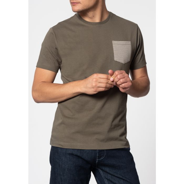 Image for Eagle Short Sleeve T-Shirt With Stripe Pocket In Dark Sage