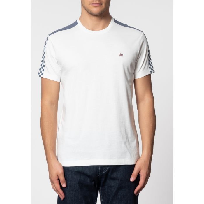 Image for HILLGATE, ska print T-shirt with short sleeves and round neck collar in Off White